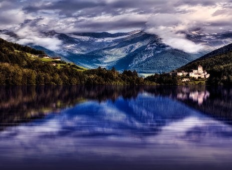 Vector, Lake, Mount, Landscape, Water, Travel, Summer