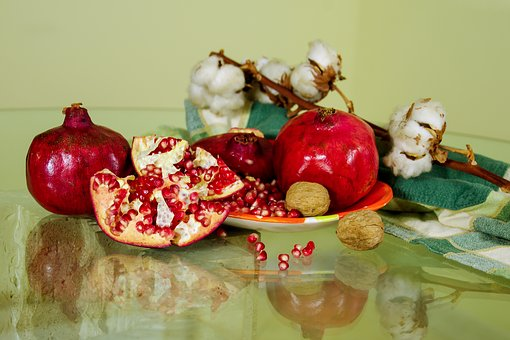 Pomegranates, Fruit, Still Life, Composition