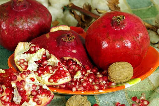 Pomegranates, Fruit, Red, Still Life, Red Fruits