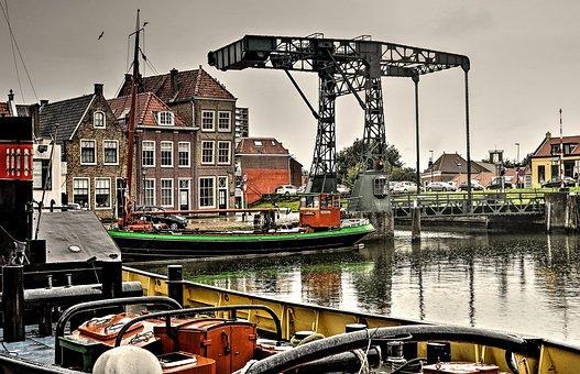 Maassluis, The Kolk, Drawbridge, Port, Bridge