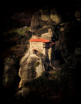 Monastery, Cliff, Dark, Mountain, Europe, Rock, Tourism