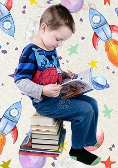 Reading, Preschool, Kindergarten, School, Boy, Template