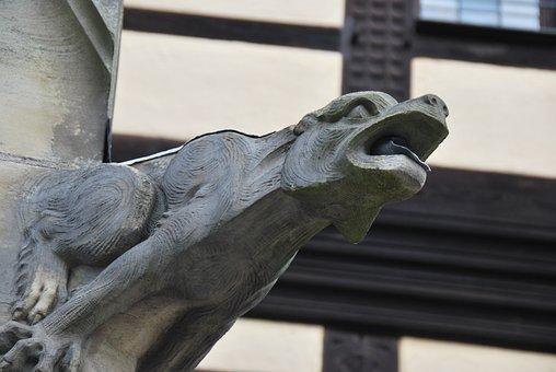 Architecture, Gargoyle, Stone Figure, Flow, Close Up