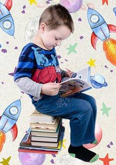 Reading, Preschool, Kindergarten, School, Boy, Template
