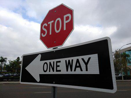 Stop, One Way, Road, Sign, Travel, Transportation