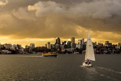 Sydney, Port, Twilight, Australia, City, Sea, View