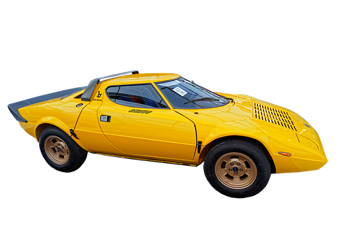 Lancia, Stratos, Sports Car, Yellow, Exempt And Edited