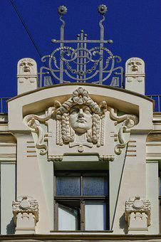 Art Nouveau, Facade, Detail, Architecture, House Facade