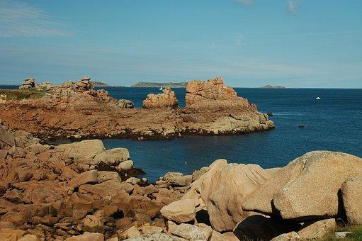 Brittany, Rocky Coast, Boot, France, Rock, Sea, Sky
