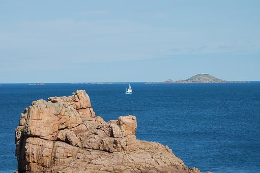 Sailing Boat, Brittany, Rocky Coast, Boot, France, Rock