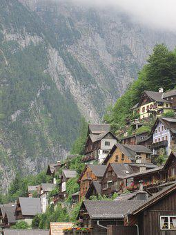 Hallstadt, Homes, Mountain, Building, Austria
