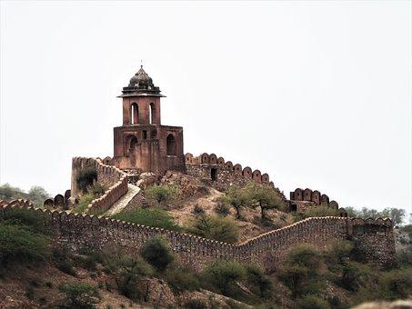 Amer Fort, Jaipur, India, Old, Historic, Building