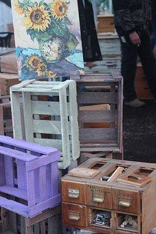 Wooden Boxes, Flea Market, Old, Figure, Market, Stuff