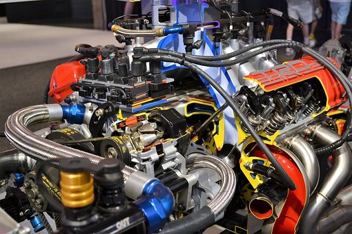 Race Car Engine, Super Charged, Piston, Wires, Charged