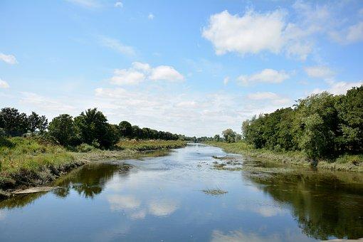 Ireland, Waterway, Scene, River, Irish, Town, Clouds
