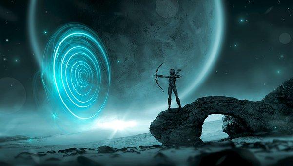 Fantasy, Planet, Archer, Woman, Moon, Sky, Space