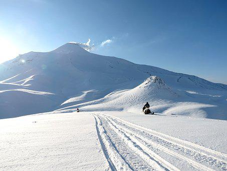 Volcanoes, Mountains, Winter, Snow, Snowmobile