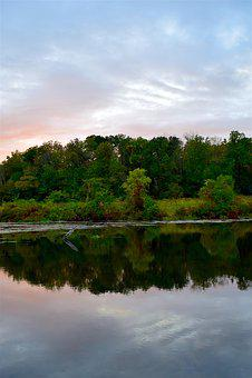 Sunset, Sky, Mountain, Trees, Water, Lake, Reflection