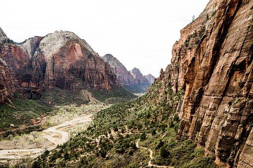 Zion, Angels Landing, Utah, Hiking, Canyon, Scenic, Sky