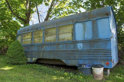School Bus, Derelict, Abandoned, Old, Rusting