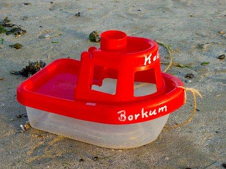 Boat, Ship, Toys, Borkum, Sand, Beach, Play, Summer