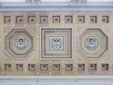 Ceiling, Painting, Architecture, Hall, Festive