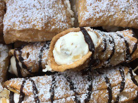 Pastry, French, Cannoli, Puffs, Baked, Cream, Dessert
