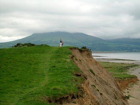 Dinas Dinlle, Beach, Cliff, Walk, Shore, Coast