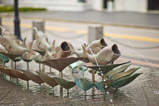 Fish Fountain, Street Art, Ohio, Columbus, Downtown