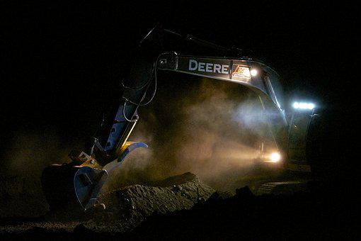 Excavator, Floodlights, Eerie, Construction, Deere