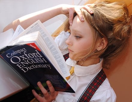 Girl, English, Dictionary, Study, School, Read, Book