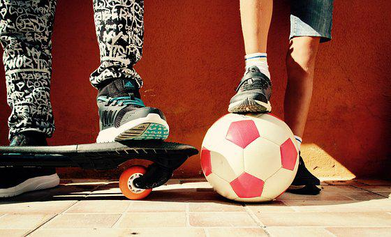 Boys, Game, Ball, Skateboard, Football, Union
