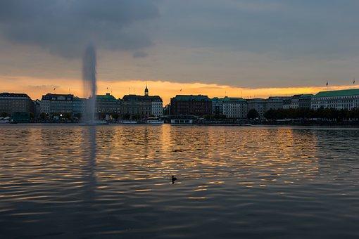 Hamburg, Alster, City, Abendstimmung, Water