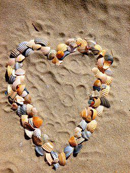 Heart, Love, Mussels, Sand, Heart Shaped, Romantic