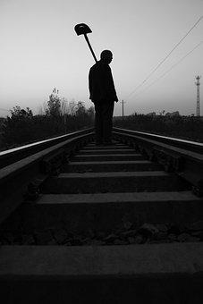 Silhouette, The Train Tracks, Farmer, Labor