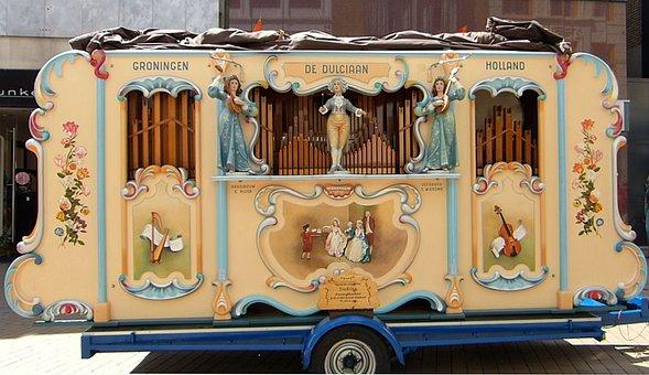 Street Organ, Front Side, Barrel Organ