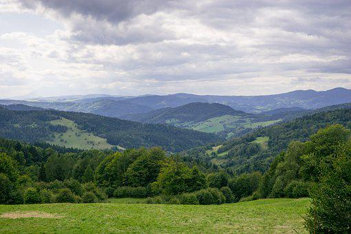 Mountains, View, Clouds, Cloud Cover, Forest, Summer