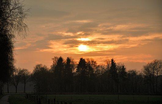 Abendstimmung, Sunset, Northern Germany, Sky, Twilight
