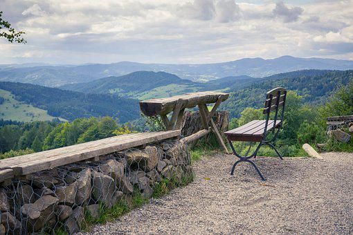 Mountains, Bench, Dining Table, View, Clouds, Holiday