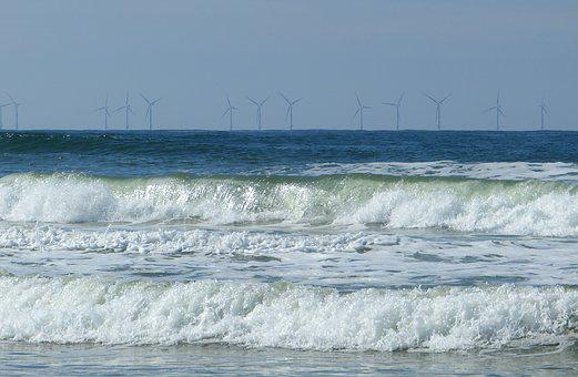 Sea, Wave, North Sea, Spray, Wind Park