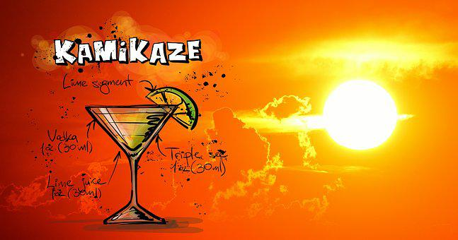 Kamikaze, Cocktail, Drink, Sunset, Alcohol, Recipe