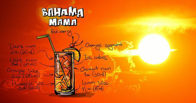 Bahamas Mama, Cocktail, Drink, Sunset, Alcohol, Recipe