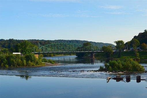 River, Water, Bridge, Landscape, Summer, Blue, Outdoor