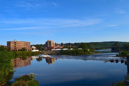 River, Water, Bridge, Building, Shore, Landscape