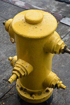 Water, Hydrant, Yellow, Fire, Metal, Street, Pipe, City
