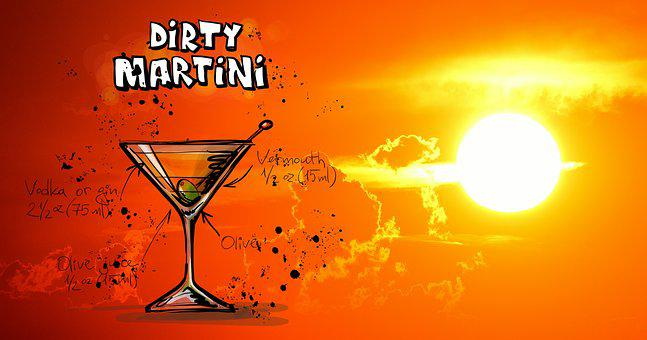 Dirty Martini, Cocktail, Drink, Sunset, Alcohol, Recipe