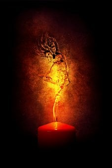 Flames, Fire, Woman, Inflamed, Light, Candle, Fantasy