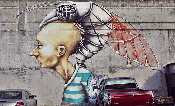Street Art, Mural, Graffiti, Cyborg, Wall, Painted Wall