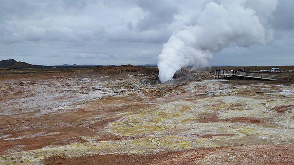 Iceland, Hot Source, Steam, Sulfur, Tourism