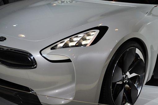 Kia Sports Car, White Car, Headlights, Headlamp, Wheel